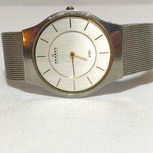 Skagen stainless steel watch w/mesh band.